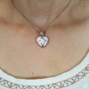 925 Mother Pearl Heart Pink White Necklace